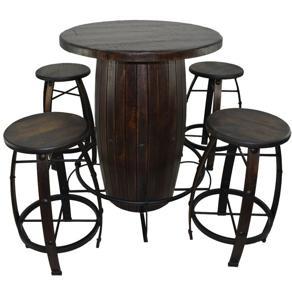 Barboza 5 Pieces Bar Height Solid Wood Dining Set by Breakwater Bay Breakwater Bay