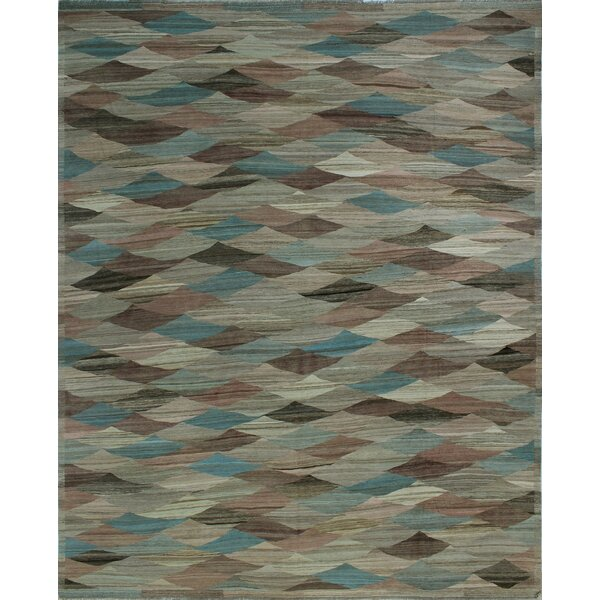 One-of-a-Kind Deb Kilim Hand-Woven Brown/Blue Are Rug by Isabelline