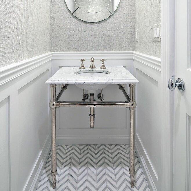 White patterned bathroom floor