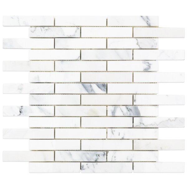 1 x 4 Marble Mosaic Tile in White/Gray by Splashback Tile
