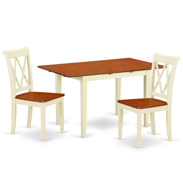 Krish 3 Piece Extendable Solid Wood Breakfast Nook Dining Set by August Grove