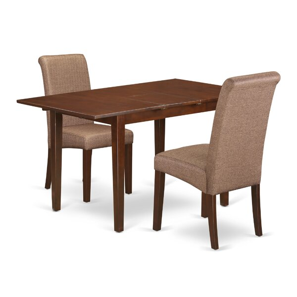 Carlie Kitchen Table 3 Piece Extendable Solid Wood Breakfast Nook Dining Set by Winston Porter Winston Porter