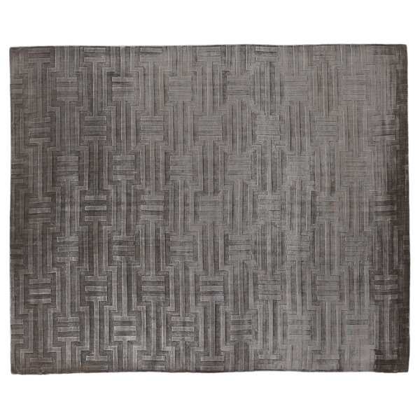 Smooch Carved Hand-Woven Silk Dark Gray Area Rug by Exquisite Rugs