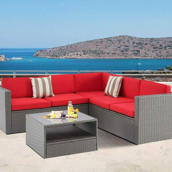 Alinea 2 Piece Wicker Sectional Seating Group with Cushions by Latitude Run