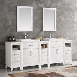 "Traditional Bathroom Mirrors fresca cambridge 84"" double traditional bathroom vanity set with"