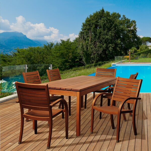 Bridgepointe Eucalyptus 7 Piece Dining Set by Rosecliff Heights
