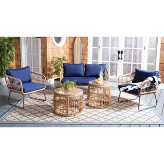 Bay Isle Home Vouni Living 5 Piece Rattan Sofa Seating Group With Cushions Wayfair