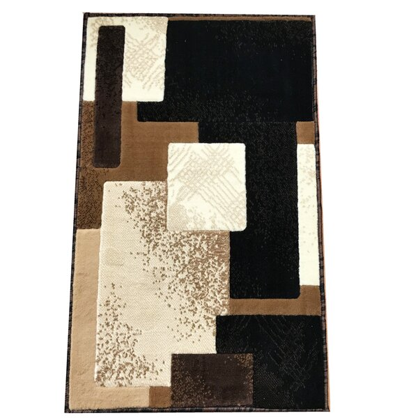 Freshman Traditional Black/Beige Area Rug by Ebern Designs