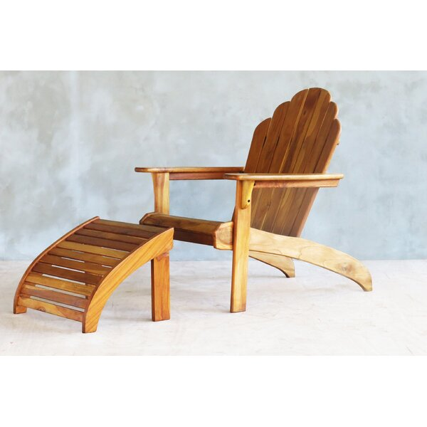 Teak Adirondack Chair and Ottoman by Masaya & Co