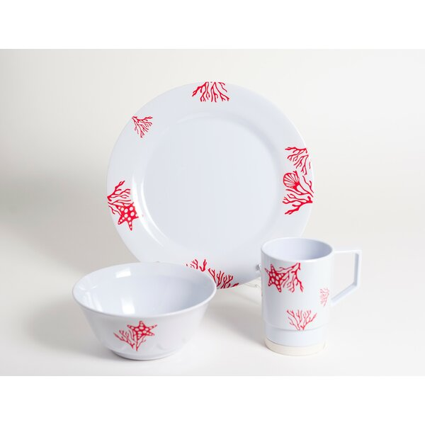 Decorated Coral Melamine 18 Piece Dinnerware Set, Service for 6 by Galleyware Company