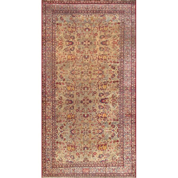 One-of-a-Kind Kermanshah Hand-Knotted Beige 9'9 x 18'8 Wool Area Rug