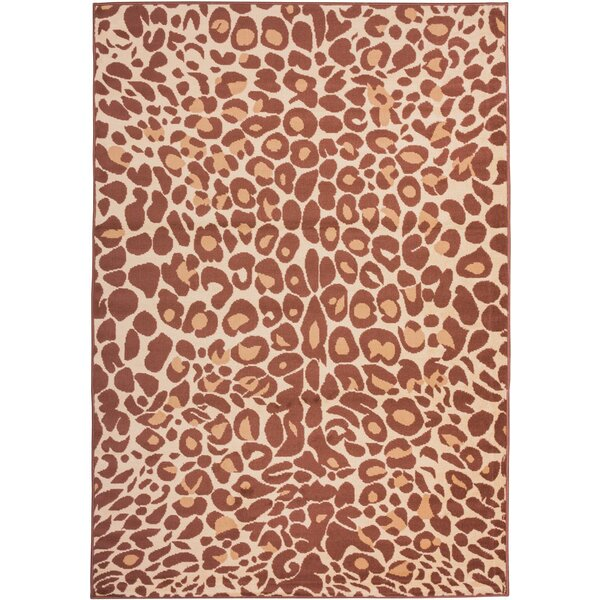 Emeline Cocoa Leopard Brown Area Rug by Bloomsbury Market