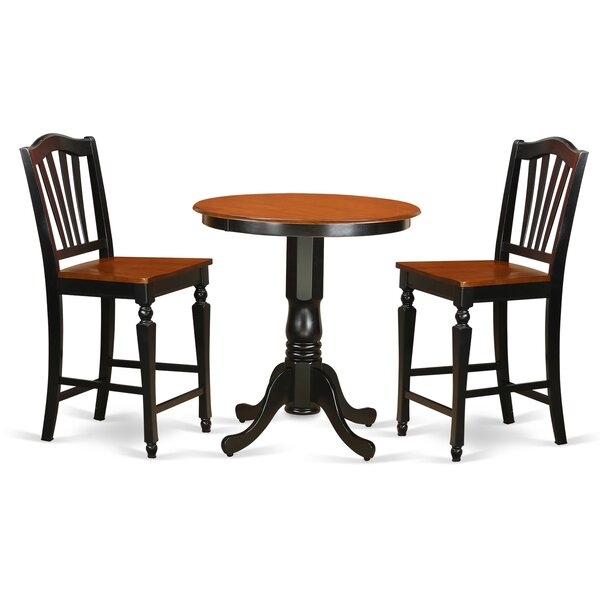 Jackson 3 Piece Counter Height Pub Table Set by East West Furniture