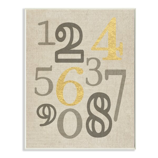 Numbers Neutrals with Gold Typography Textual Art by Stupell Industries