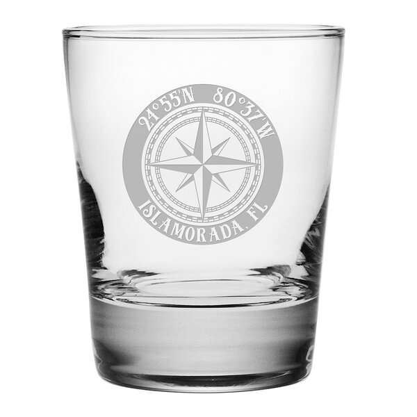 Galvez Compass Rose 14 oz. Glass Cocktail Glass (Set of 4) by Longshore Tides