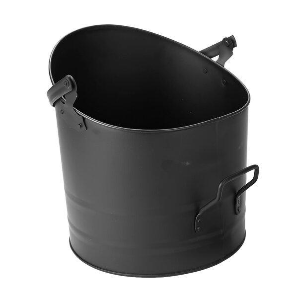 Large Fireplace Ash Pellet Steel Bucket by Mind Reader