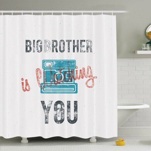 Vintage, Half Toned Big Brother Quote with Old-Fashion Analogue Camera Icon Web Print Shower Curtain Set by Ambesonne