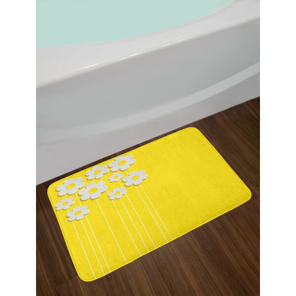 Spring Flowers Daisy Pattern on Clean Background Blossom Meadow Scenic Art Print Non-Slip Plush Bath Rug by East Urban Home
