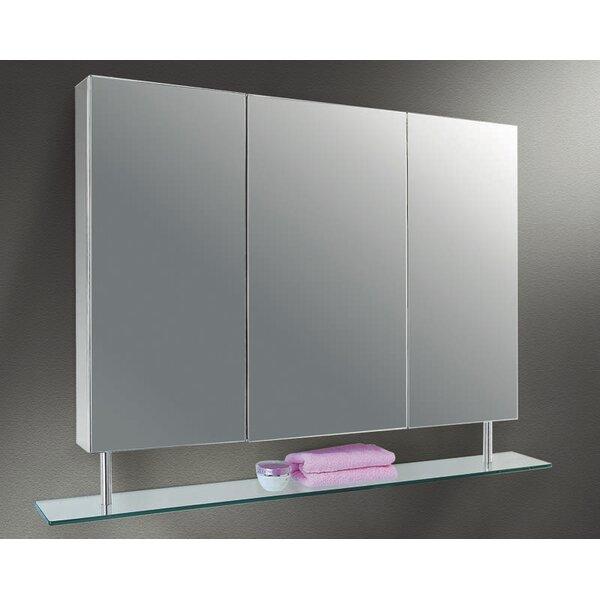 Tayler Edge Mirror Door 22 x 37 Surface Mount Frameless Medicine Cabinet with 2 Adjustable Shelves by Orren Ellis
