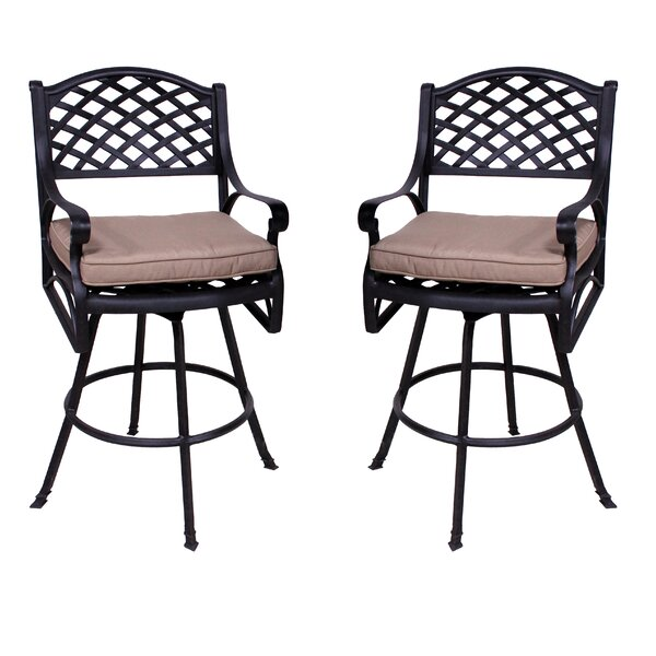 Amelio Patio Bar Stool with Cushion (Set of 2) by Darby Home Co