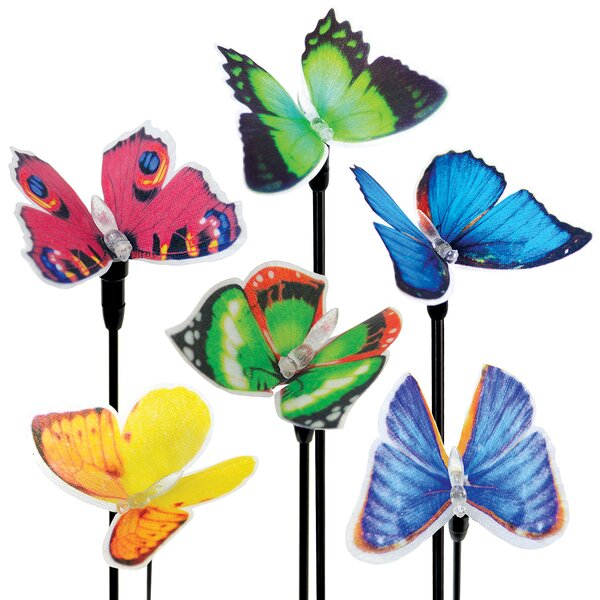 6 Piece Solar Fiber Optic Butterfly Stake Set by Exhart