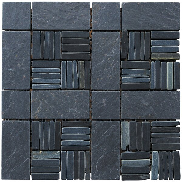 Landscape Wonder 12 x 12 Alternate Natural Stone Blend Mosaic Tile in Black Slate by Intrend Tile