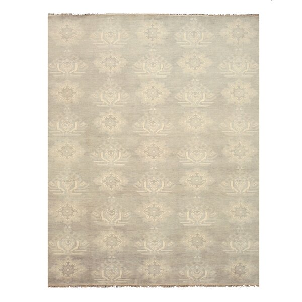 Mono Hand-Knotted Gray/Ivory Area Rug by Eastern Rugs