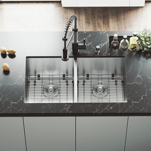 32 L x 19 W Double Basin Undermount Kitchen Sink with Faucet, Grid, Strainer and Soap Dispenser by VIGO