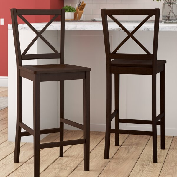 Charlotte Cross Back 24 Bar Stool (Set of 2) by Darby Home Co