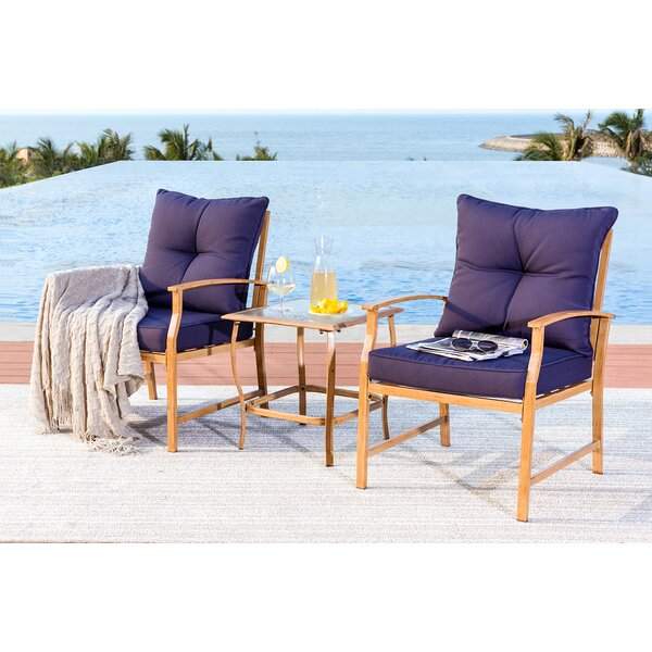 Xan 3 Piece Rattan Sofa Seating Group with Cushions by Longshore Tides