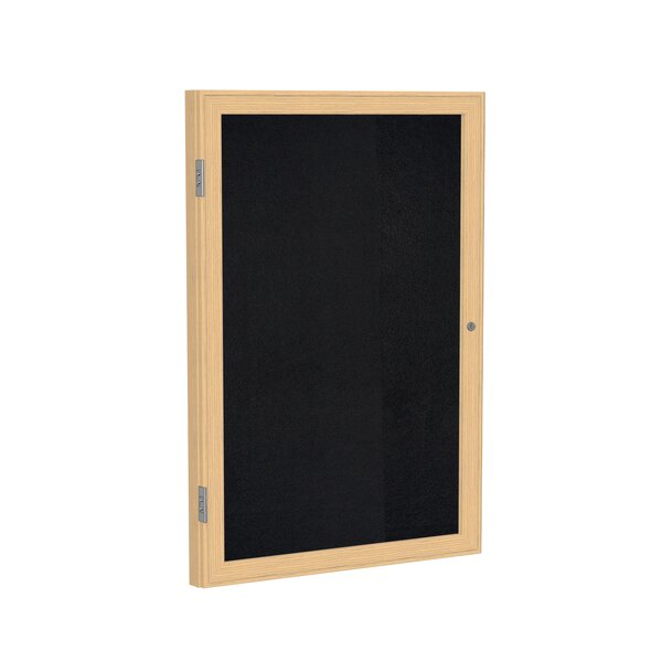 Ghent 1 Door Enclosed Recycled Rubber Bulletin Board with  Wood Frame by Ghent