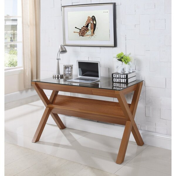 Gillies Wooden Desk with Tempered Glass Top by Wrought Studio