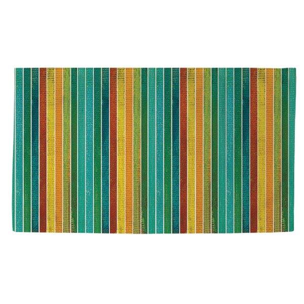 Aqua Bloom Stripes Area Rug by Manual Woodworkers & Weavers