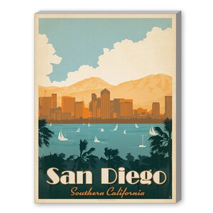 San Diego Southern California  Graphic Art on Wrapped Canvas by Americanflat