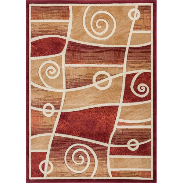 Atherton Modern Abstract Scrolls Red Area Rug by Winston Porter