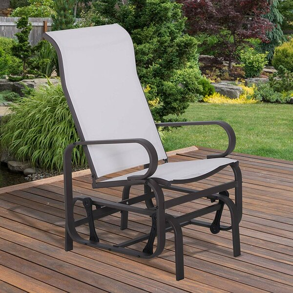 Dalke Metal Mesh Fabric Single Outdoor Patio Glider Rocking Chair by Charlton Home
