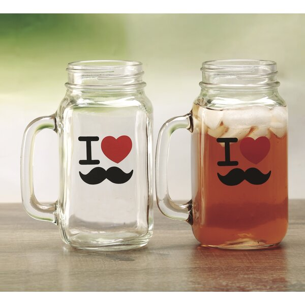 I Love Mustache 24 Oz. Mason Jar (Set of 2) by Linen Depot Direct