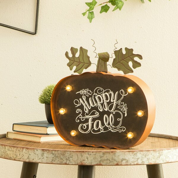 Chalkboard Pumpkin LED Marquee by Ivy Bronx