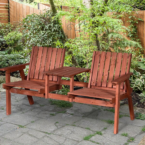 Addie Outdoor Patio Wooden Tete-a-Tete Bench by Union Rustic