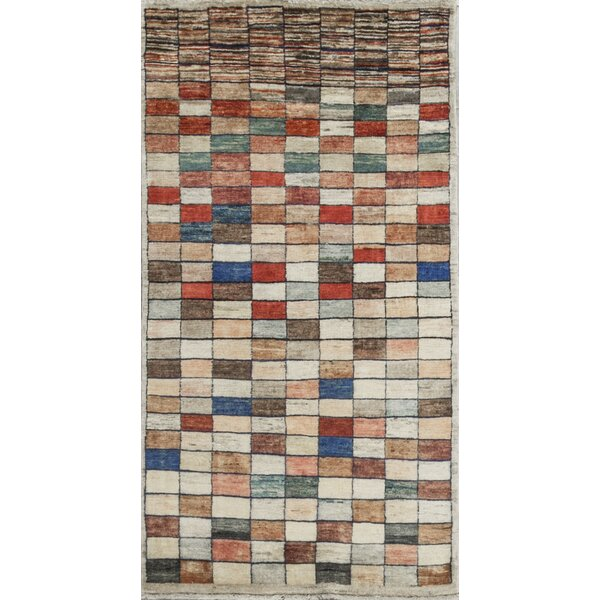 One-of-a-Kind Afghan Squares Gabbeh Hand-Knotted Wool Beige Area Rug by Bokara Rug Co., Inc.