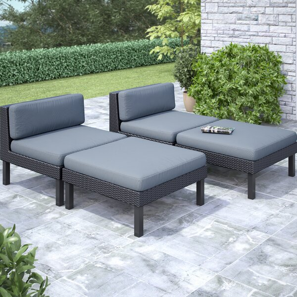 Woodvale 4 Piece Chaise Lounge with Cushion Set by Wrought Studio Wrought Studio