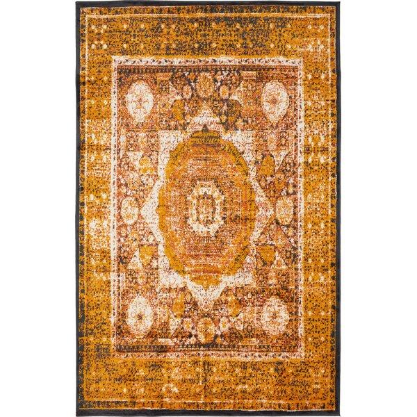 Bolton Ivory/Orange Area Rug by World Menagerie