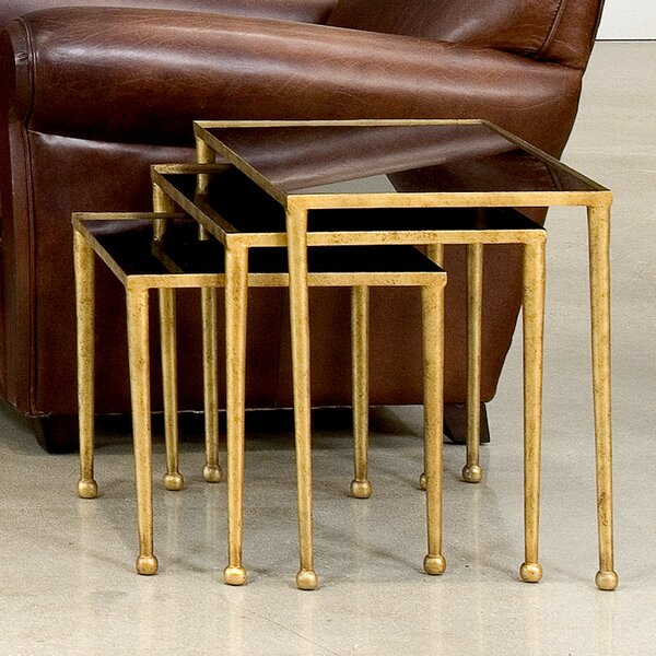 Trio of Gilt Metal 3 Piece Nesting Tables by Sarreid Ltd