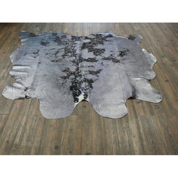 Welton Premium Hand-Woven Cowhide Gray Area Rug by Loon Peak