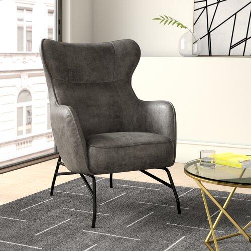 Matilda Wingback Chair Hykkon Colour: Charcoal