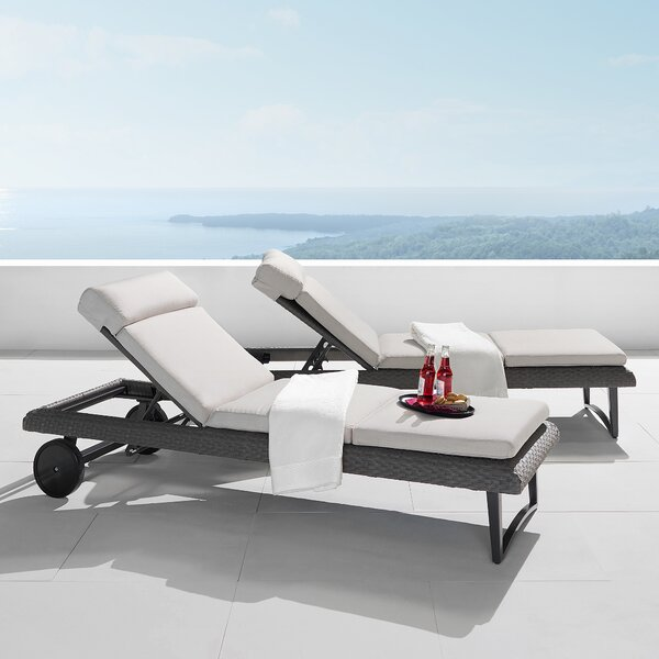 Tullis Reclining Chaise Lounge with Cushion (Set of 2)