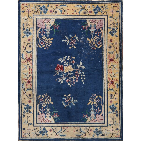 Sienna Art Deco Nichols Chinese Antique Oriental Hand-Knotted Wool Beige/Blue Area Rug by Astoria Grand