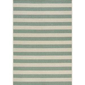 Glenn Stripes Flatweave Cream/Blue Indoor/Outdoor Area Rug