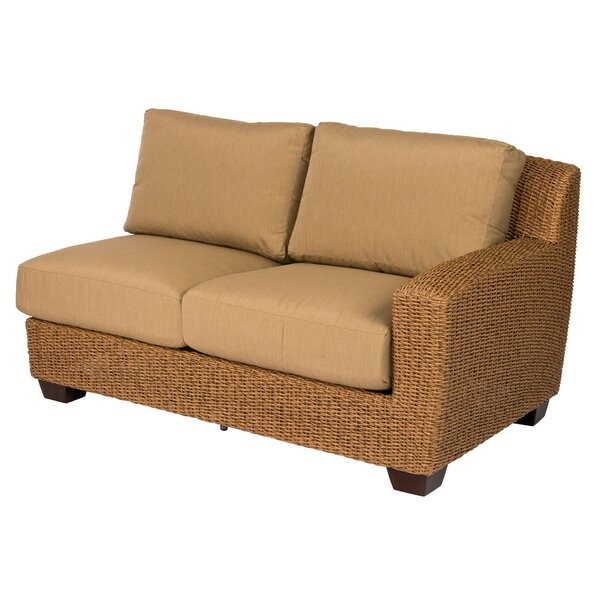 Saddleback Right Arm Loveseat with Cushions by Woodard