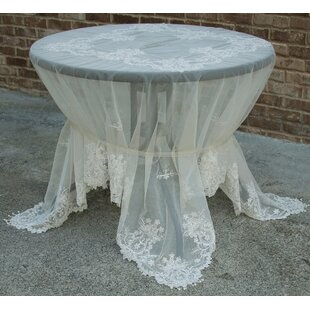 Paisley Lace Embroidered Tablecloth with Beaded Accent By Manor Luxe